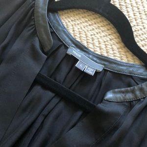 Vince. 💯 Silk Black Tunic Blouse Leather Trim L